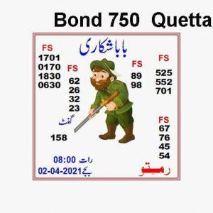 Latest Prize Bond Guess Paper 16 april 2021 bond 750 Quetta