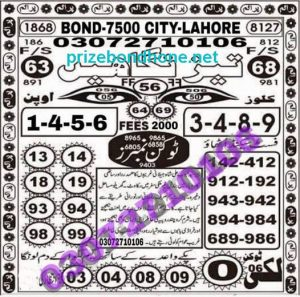 prize bond prime photo state guess paper Bond 7500 at Lahore 1 february 2021