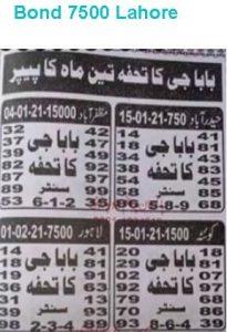 prize bond guess paper bond 7500 Lahore