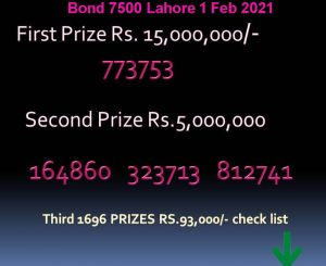 Latest prize bond result 1 february 2021 bond 7500