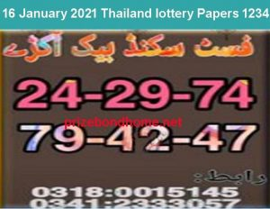 thailand lottery 1234 paper 16 January 2021 latest